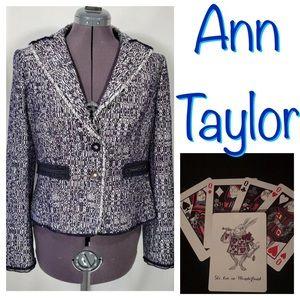 New Ann Taylor Tweed Blazer Jacket Navy Sz 10